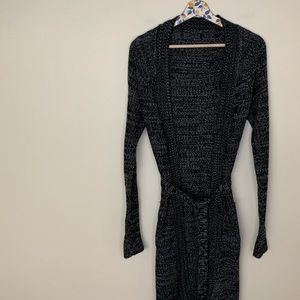 H&M marbled gray/black knit long duster cardigan